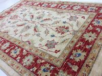 3' x 4' Beige Red Small Oriental Area Rug Ziegler Hand Knotted Wool All Over