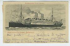 1904 Postcard North German Lloyd Bremen Steamship Barbarossa
