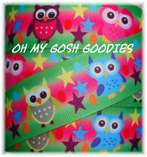 1.5 OH MY GOSH ROCK STAR HOOT OWLS PINK LIME GROSGRAIN RIBBON 4 BOW HAIRBOW