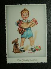 Alte AK , Junge mit Dackel u. Ziehharmonika , Zum Geburtstag liebe Grüße, (C842)