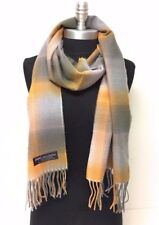 NEW Cozy CASHMERE SCARF Scotland Soft Wool Wrap Plaid Check Orange Gray Silver