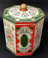 VTG Western Germany Tin Litho Container Octagonal Canister Red Green Folk Art