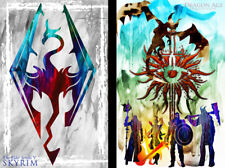 Skyrim Dragon Age Gamer Art 2 print LOT 11 x 17 High Quality Poster