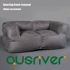 Modern Grey Bean Bag Couch Loveseat Luxury Suede Beanbag Cover 2 Seater BB2PGRY