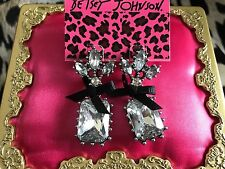 Betsey Johnson Art Deco Marquis Clear Jewel Stone Crystal Black Bow Earrings