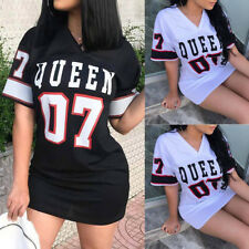 US Womens Queen V Neck Tops Summer Casual Loose Short Sleeve T-Shirt Mini Dress