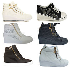 Womens Ladies Wedge Heel Trainers Platform Sneakers Mid High Top Hi Ankle Boots
