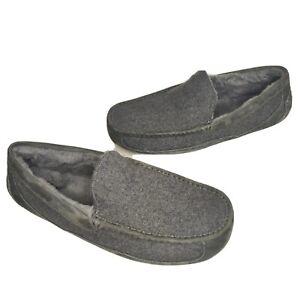 Ugg Sheepskin Slippers Ascot Wool 3233 Moccasins Size 18 Gray Rayon Viscose NEW