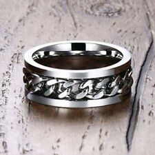 Silver Men Wedding Ring Loop Spinning Chain Band Stainless Steel Biker Jewelry