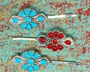 Aztec Turquoise Red Set 3 Hair Pins Southwest Western Rodeo Jewelry coral comb