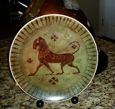 "Round Ceramic Tray Platter 11.5"" Handmade in Greece Mythological Greek Lion ?"