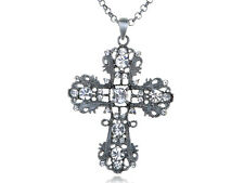 Silver Tone Clear Crystal Rhinestone Intricate Detail Cross Pendant Necklace
