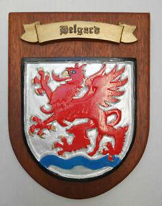 Wappen Belgard Bialogard Kunstharz / Holz Pommern Pomorze Kolberg Köslin