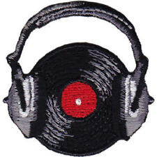 Mini Record with Headphones Embroidered Patch / Iron-On Appliqué