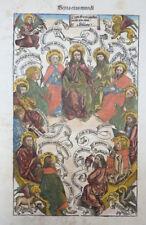 SCHEDEL WELT CHRONIK KOLORIT GOTTVATER APOSTEL EVANGELISTEN HEILIGER GEIST 1493