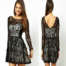 Sz 8 10 Sexy Black White Lace Long Sleeve Dance Party Formal Skater Cocktail New
