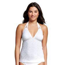677243c2bb69a Mossimo White Crochet Halter Tankini Swim Top Small NWT