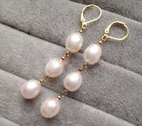 Elegant Women's Fashion Akoya Pearl 14k plating Gold Leverback Dangle Earrings