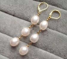 Elegant Women's Fashion White Akoya Pearl 14k Gold Leverback Dangle Earrings
