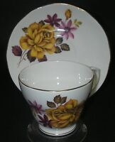 CUP & SAUCER Duchess Bone China DUC59 Floral Yellow Rose Footed Scalloped Gold.