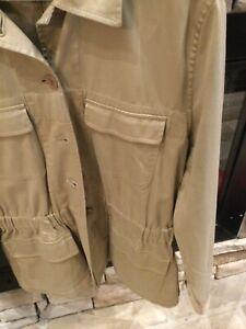 Talbots Womens Size L Tan Jacket Front FlapPocketsTailored Elastic Waist Stretch