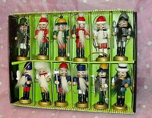 """ASSORTED Lot of 12, MINI HOLIDAY WOODEN NUTCRACKERS"", 3 1/2"" each"
