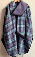 Lilac *PRINGLE OF SCOTLAND* Large Reversible Tartan Wool Poncho Wrap Cape