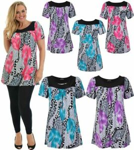 Women Ladies Plus Size Short Sleeves Scoop Neckline Floral Print Smock Tunic Top
