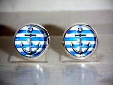 Ohrstecker Anker Maritim Cabochon Glas Blau Damen Ohrringe Ohrschmuck