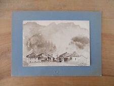 Aquarelle ancienne signée Gillet Champagny Vanoise tableau de montagne Bozel 2
