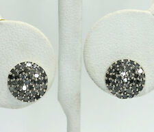 Natural Diamond Sterling Silver Circle Stud Button Earrings .75 CT. T.W.