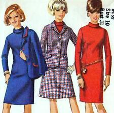 """Vintage 60s Mod Vestido Falda Chaqueta Traje busto de patrón de costura 31"""" Talla 6 Retro"""