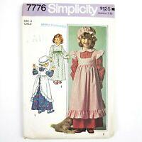 Vintage 1976 Simplicity Pattern · 7776 · Size 4 · Girls Dress Pinafore & Hat