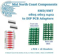1pc x PCB + 16 Headers SMD/SMT 0805 0603 0402 to DIP Adapter PCB Converter