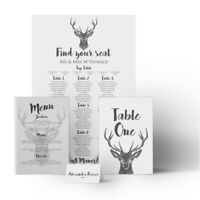 Vintage Stag Wedding Seating Plan Table Chart Menus Place Cards Canvas
