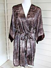 Jones New York Brown Animal Skin Print Satin Kimono Style Robe Lace Trim  L XL 1f0636780