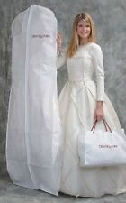 """Bridal Gown Wedding Dress Storage Bag White Breathable 72"""" Long with 10"""" Gusset"""