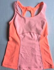 LULULEMON Run Pace Tank Top Pop Orange Bleached Coral Stripe size 4 EUC Gym Spin
