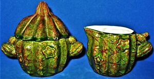 Vintage Majolica Style Ceramic Green Cactus Covered Sugar and Creamer Set