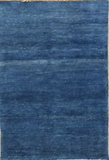 Contemporary Thick Pile Solid Blue Modern 3x5 Gabbeh Shiraz Persian Oriental Rug