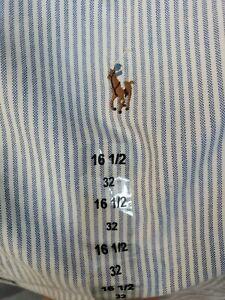 Ralph Lauren Men's Sz 161/2 32 Blue White Striped Button Down Yarmouth NEW #C