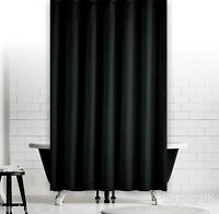 Plain Black Fabric Shower Curtain, Weighted Hem, Extra Long, Different Sizes