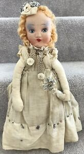 Vintage Christmas Tree Fairy Cloth Doll Angel Tree Topper Decoration C.1930/40s