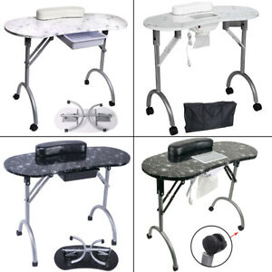 Foldable Manicure Nail Art Table Beauty Salon Desk with Vacuum Dust Collector UK