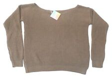 Missguided Women's Ophelita Off Shoulder Knitted Jumper Taupe CB4 Size M/L NWT