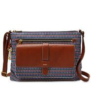 Fossil Kinley Medium Leather & Fabric Crossbody Teal Brown Gold