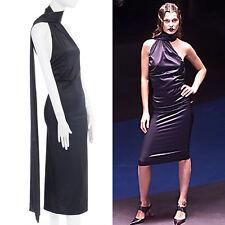 runway ALEXANDER MCQUEEN Vintage AW01 black wrap neck scarf stretch dress IT40 S