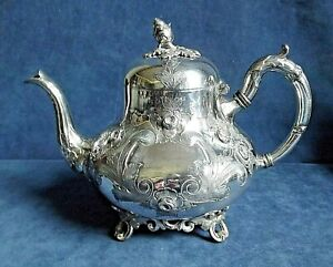 SUPERB Ornate ~ SILVER Plated ~ ENGRAVED Bulbous TEAPOT ~ c1890 by Williams