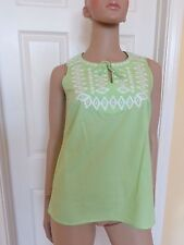 TALBOTS green embroidered sleeveles top size P petite XS