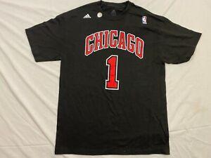 M115 RARE ADIDAS Chicago Bulls Derrick Rose #1 Tee T Shirt Jersey MEN'S L
